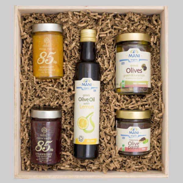 giftbox-oil lemon-2 jams-olive paste-olives