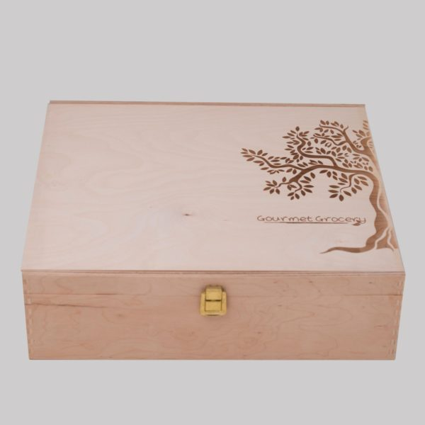 gourmet groceries wooden box square