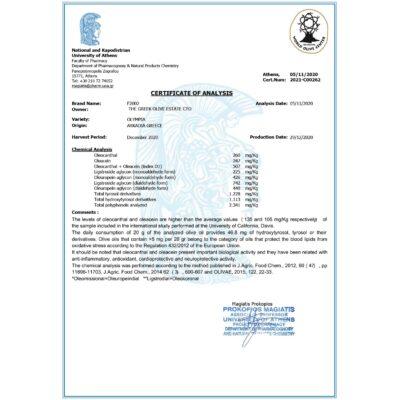 phenOLIV organic certificate Nmr 2020