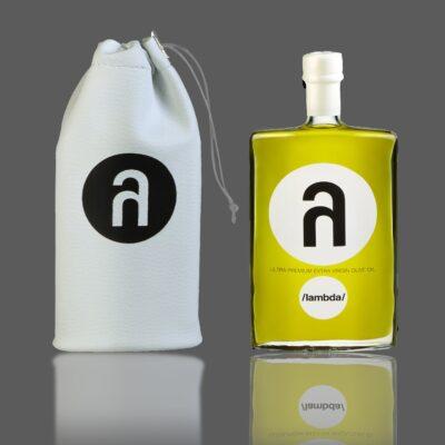 lambda leather pouch lambda olive oil bottle