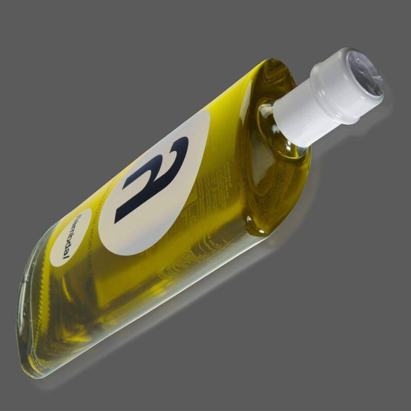 lambda olive oil bottle side view