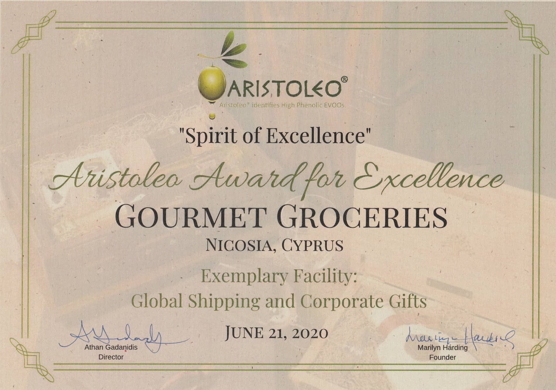 Aristoleo Award 2020 - Gourmet Groceries